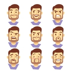 Bearded hipster man character emotions male heads vector image