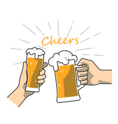 beer cheers hand vector image