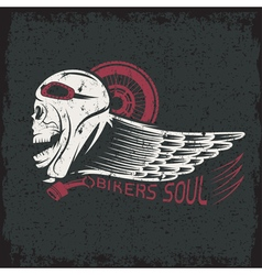 bikers theme grunge label with skullwheel and wing vector image