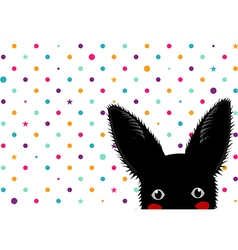 Black Rabbit Colorful Dots Star Background vector image