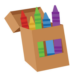 Box with crayons on white background vector