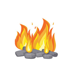 Burning bonfire with charcoal cartoon icon vector