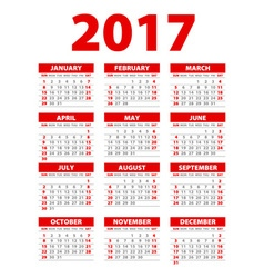 Calendar for 2017 on white background EPS10 red vector image