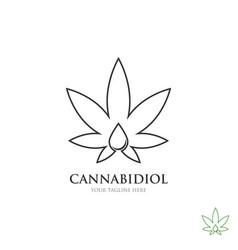 cannabis line art logo with oil drop symbol vector image