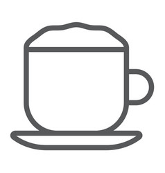 Cappuccino line icon coffee and cafe cup vector