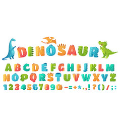 cartoon dino font dinosaur alphabet letters and vector image