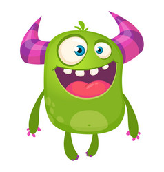 cartoon green horned monster vector image vector image
