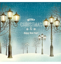 Christmas evening landscape with vintage lampposts vector