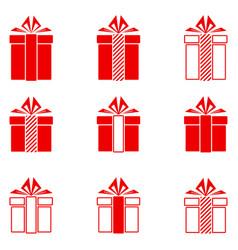 Christmas gifts icons set vector