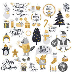 christmas set with cartoon new year characters vector image