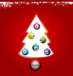 christmas tree with bingo lottery balls on red vector image