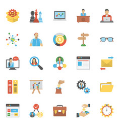 Colored flat icons set of project and management vector