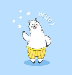 Cute cartoon lama doodle character vector