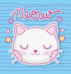 cute cat head animal with stars vector image