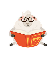 Cute white sheep character sitting and reading a vector