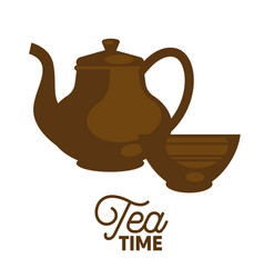 Dark tea time set flat and shadow theme close-up vector