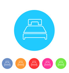 double twin bed icon flat web sign symbol logo vector image