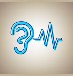 Ear hearing sound sign sky blue icon with vector