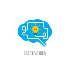 emblem brain symbol of creative ideas mind vector image