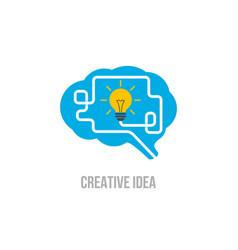 emblem brain symbol of creative ideas mind vector image