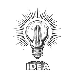 engraving light bulb vector image