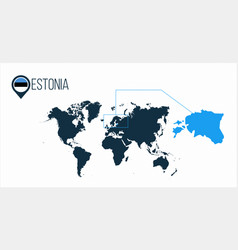 Estonia location on the world map for vector
