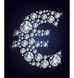 Euro symbol in diamonds vector