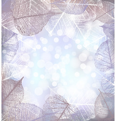 Festive winter background of bokeh lights with vector