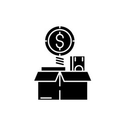 financial wealth black icon sign on vector image