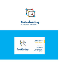 flat cube logo and visiting card template vector image