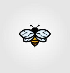 flying bumblebee logo mascot vintage design vector image