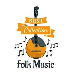 Folk music symbol with ethnic musical instrument vector
