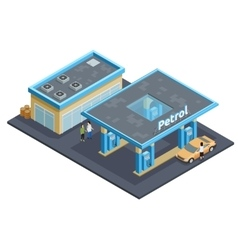 Gas Station Complex Isometric Image Poster vector image