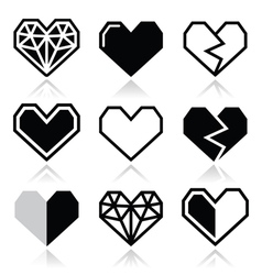 Geometric heart for Valentines Day icons vector image