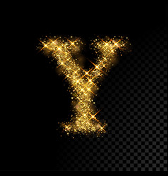 Gold glittering letter y on black background vector