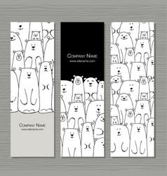 Greeting cards design polar bears family vector