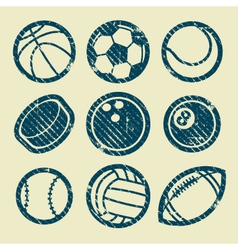 Grunge Sport Balls Stamp Icons vector image