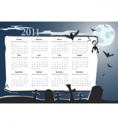 Halloween calendar 2011 with cemetery vector image