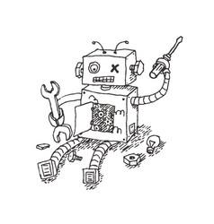 Hand drawn brocken robot isolated on white vector