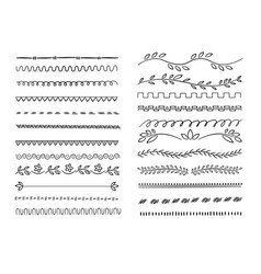 hand drawn lines web dividers hatching pencil vector image