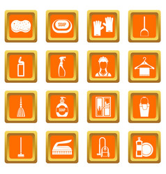 House cleaning icons set orange vector