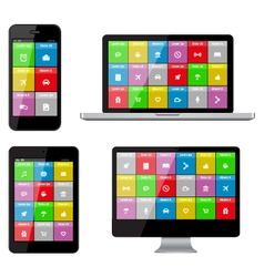 Isolated gadgets with ui and web icons vector