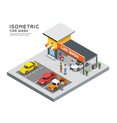 isometric building car care wash service vector image