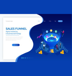 Isometric online funnel generation sales customer vector