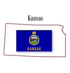 Kansas state map and flag vector