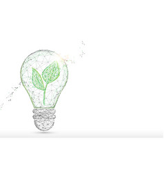 light bulb with green plant form lines triangles vector image