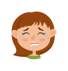 Little girl crying face expression cartoon vector