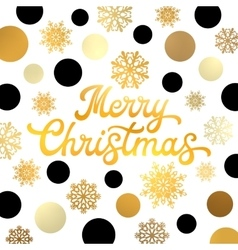 Merry Christmas gold hand lettering inscription vector