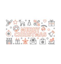 merry christmas line horizontal vector image