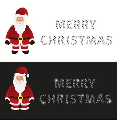 Mery christmas with cartoon Santa Claus greeting vector